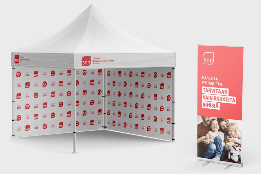 3x3m Popup teltta logolla painettuna